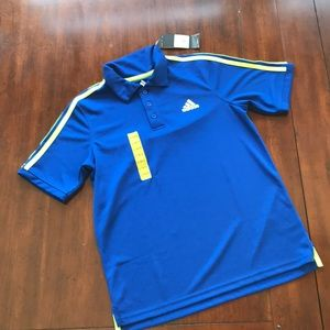 Boy's Adidas Size L (14/16) Blue/Neon Golf Shirt